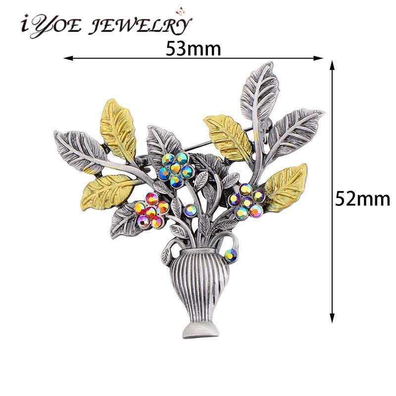 Iyoe Gaya Retro Logam Antik Bunga Bros untuk Wanita Baru Fashion Vintage Keranjang Bros Pin BoHo Perhiasan Penggunaan Ganda
