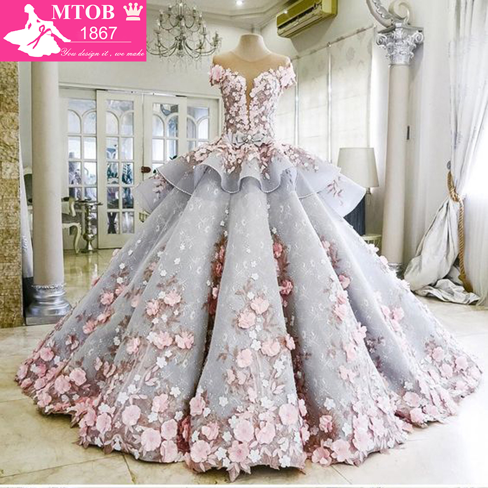Dreamy Flower Princess Wedding Dresses Luxury Colorful Wedding Gowns Robe De Mariage See Though Beaded Bridal