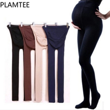 PLAMTEE Maternity Clothes Winter Solid Color Adjustable font b Leggings b font For Pregnant Women Thick