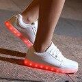 Красочный СВЕТОДИОДНЫЕ Обувь для Взрослых Унисекс Женские USB Зарядки свет Светящиеся Повседневная Обувь Красочные Моделирование Световой Неон Корзина