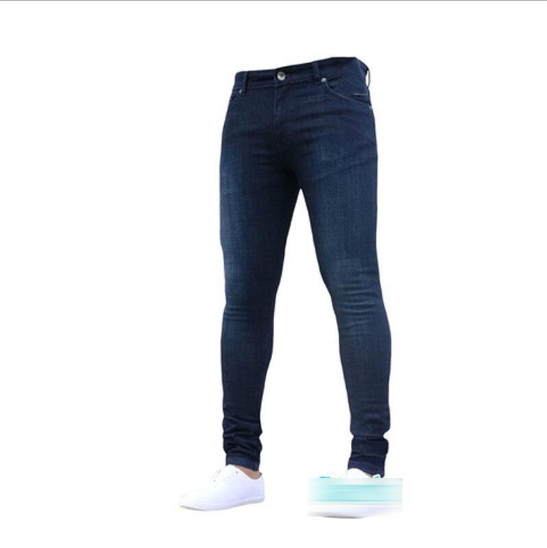 Новинка, мужские джинсы-карандаш, Модные мужские повседневные узкие прямые Стрейчевые узкие джинсы на молнии для мужчин,, брюки - Цвет: Dark Blue