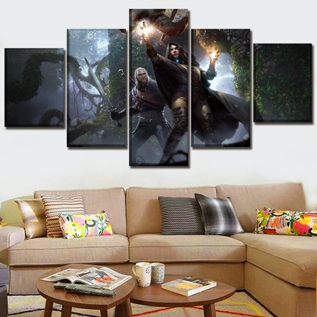 Modern HD Printed Framework Canvas Picture 5 Piece Game The Witcher 3 Wild Hunt Yennefer Geralt Painting Home Decor Living Room 1