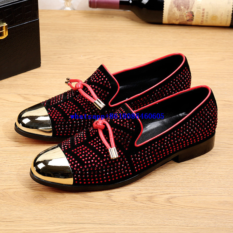 Classic red rhinestone loafers gold dress shoes men oxford slip on flats genuine leather formal shoes classic style plus size 247 classic leather