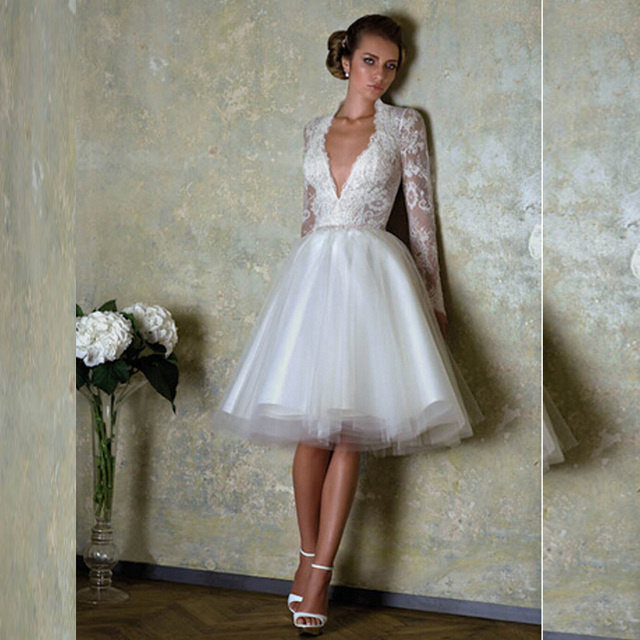 44217b006bb Sexy Low V-Back Long Sleeve Knee Length Wedding Dresses White Zipper Back Lace  Bridal Tulle Gown 2016 Custom Made