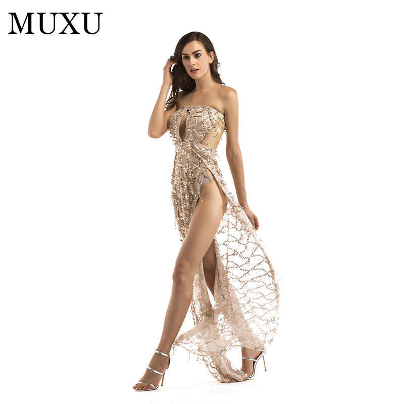 MUXU summer women gold sequin backless sexy women dresses vestidos mujer  jurken women clothing elbise glitter b56525abfef1