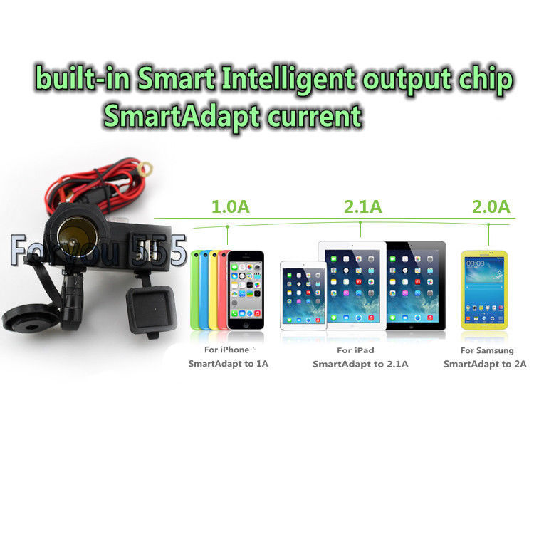 Смартфон iPhone android-планшет прикуривателя Dual USB Зарядное устройство для BMW Harley Honda Yamaha Suzuki Kawasaki