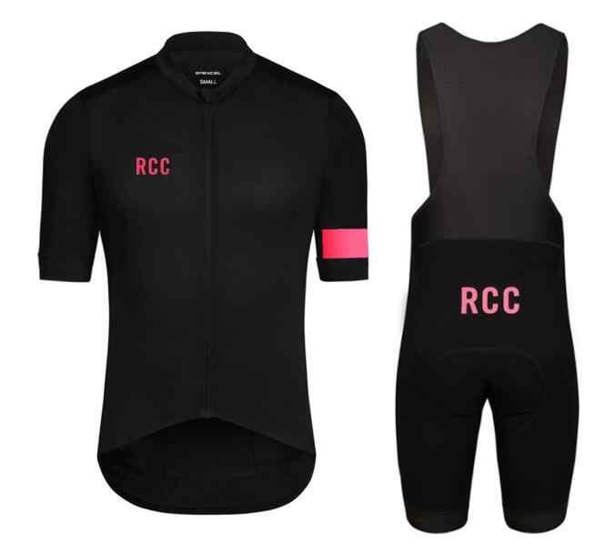 2018 RCC black pink high quality pro team short sleeve and bib shorts 4D  gel pad 3c3660d28