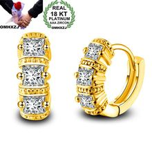 OMHXZJ Wholesale Personality Fashion OL Woman Girl Wedding White Gold Square Zircon 18KT Hoop Earrings YE454