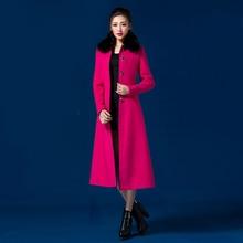 2016 Winter New Fashion Women's Overcoat Turn Down Collar Medium Long Wool Jacket Coat Single Breasted S-4XL Plus Size Outwear