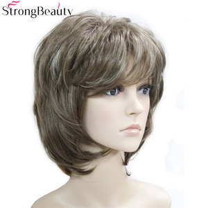 Image 2 - Strong Beauty Brown with Blonde Wigs Highlights Short Straight Hair Ladys Synthetic Wig