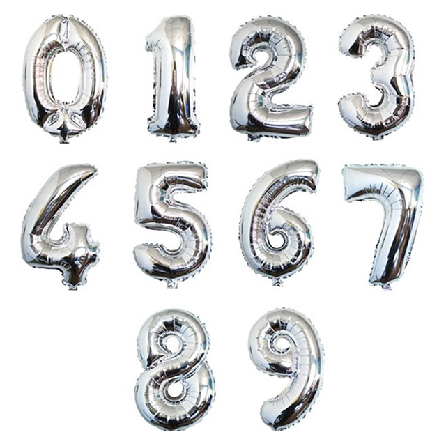 Large Big Silver aluminum foil number balloon huge 1 2 3 4 5 6 7 digit air balloons Evening Birthday day Party figure airballoon