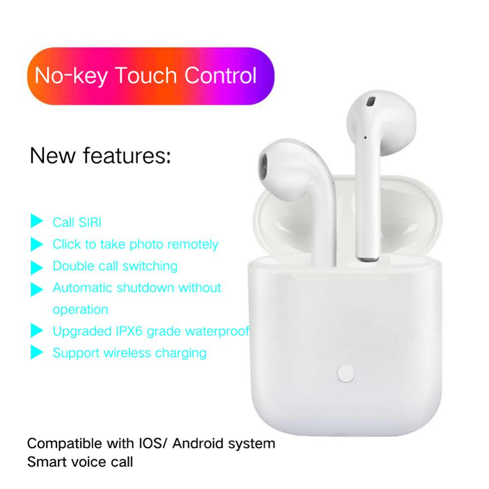 waterproof LK-TE8 LK TE8 Touch Type Wireless headphone Bluetooth Binaural  Calls Smart Earphones Wireless Charging Bluetooth 5 0