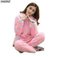 2017 Winter Women Pyjamas Sets Thickening Cotton Pajamas Coral Velvet Flannel Home Costume Warm Cozy Pants