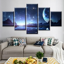 Wall Art Picture Anime Home Decor Living Room Canvas Original Starry Sky Print Painting 5 Panel Children Landscape Poster