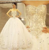 2014 Quality Sparkling Crystal Luxury Diamond Wedding Dress Tube Top Bandage 1 5 Meter Royal Train