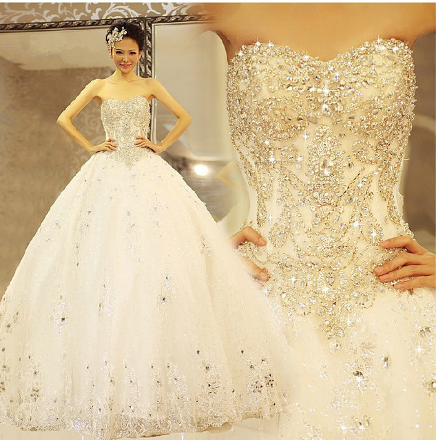 2019 calidad de cristal brillante de diamantes de lujo boda vestido