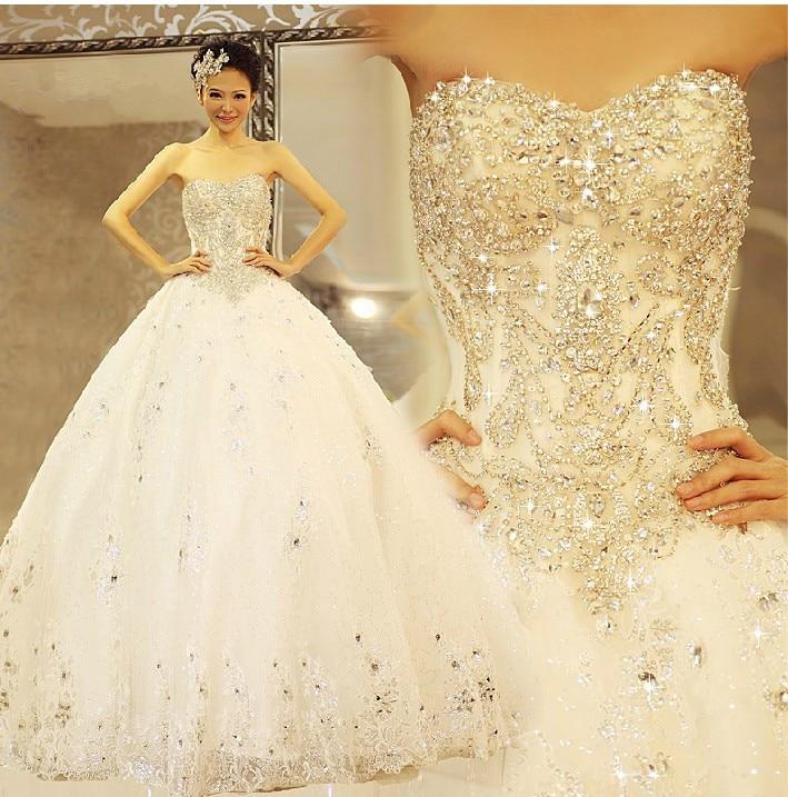 290a89f048f 2019 quality sparkling crystal luxury diamond wedding dress tube top  bandage 1.5 meter royal train wedding dress bride TK347-in Wedding Dresses  from ...