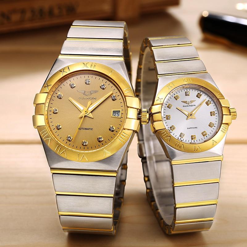Guanqin mens 시계 세트 최고 브랜드 럭셔리 자동 방수 기계 최고 품질의 비즈니스 시계 시계 남자 relogio masculino-에서기계식 시계부터 시계 의  그룹 1