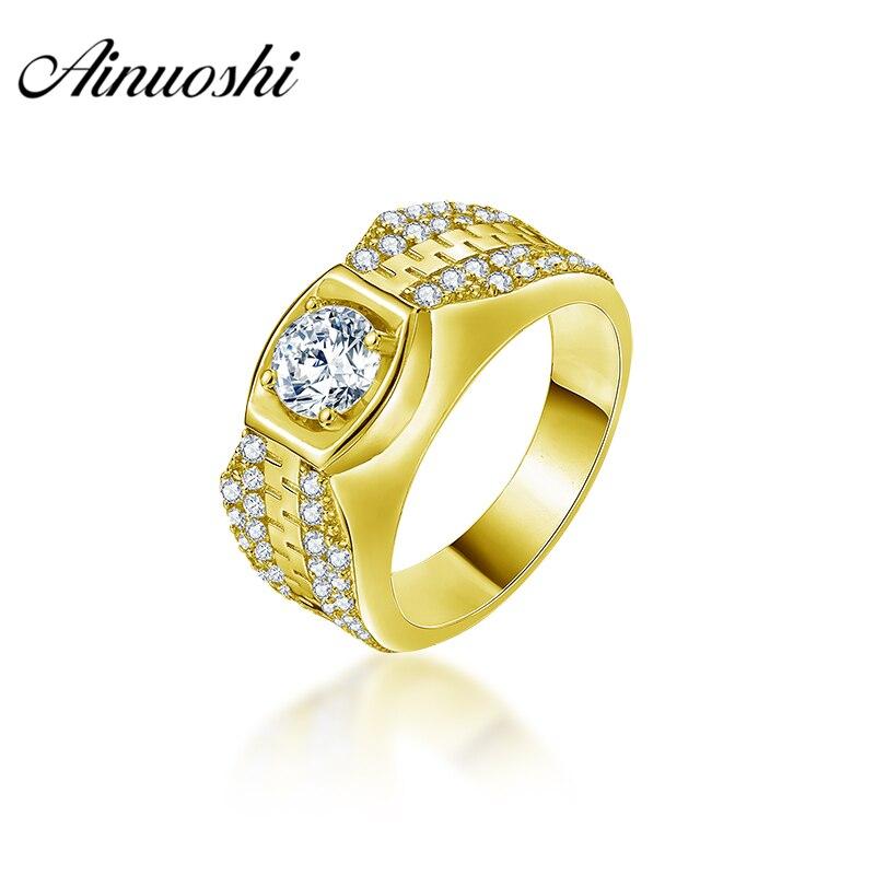 AINUOSHI Luxury 10K Solid Yellow Gold Men Ring Round Cut Ring Trendy Engagement Wedding Male Jewelry 6.6g Generous Wedding Band
