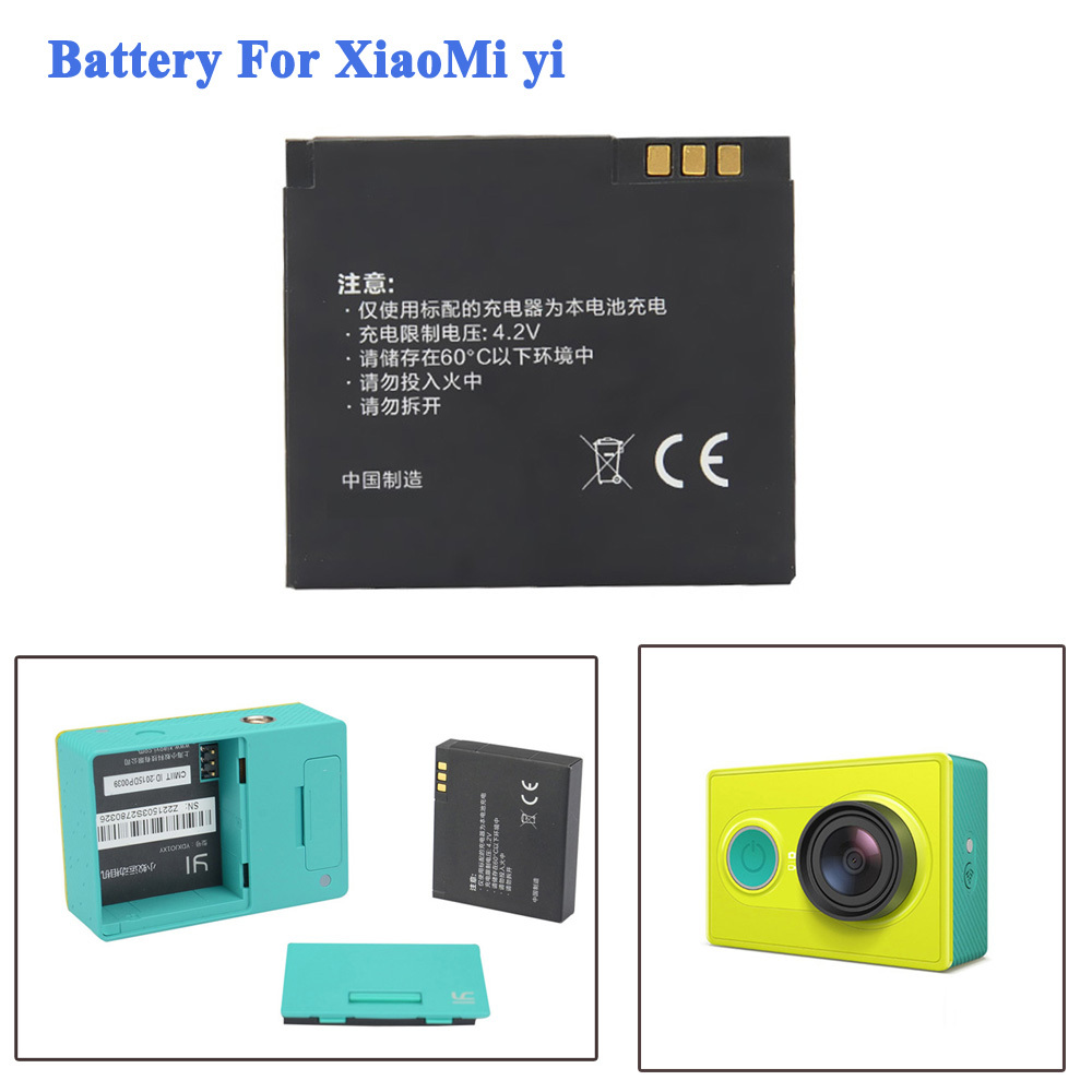 High Quality 1010mAH Xiaomi Yi Battery Accessories Li-ion Spare Battery For Xiaomi Yi Action Soprt Camera Battery Accessories