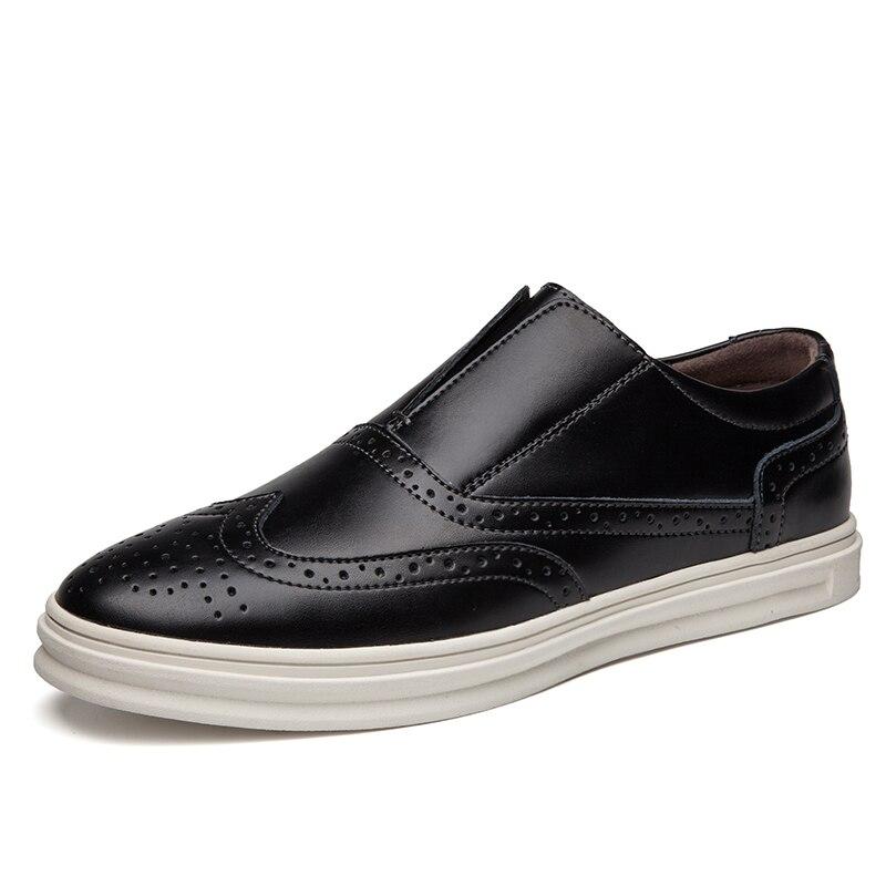Nouvelle Shoes 2018 Hommes Casual Mocassins Mode Bon brown Cuir Rouge Chaussures Marche Thestron Brun Black Shoes Luxe Noir Shoes De Marque red Brogues Mâle En QCdhrts