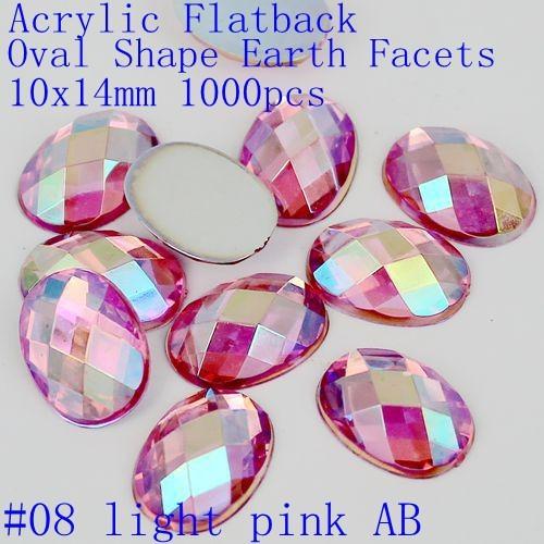 Cores AB 10X14mm 1000 pcs Contas de Acrílico Forma Oval Plana de Volta terra Facetas Hotfix não Cola Em Pedras DIY Fazer Jóias suprimentos