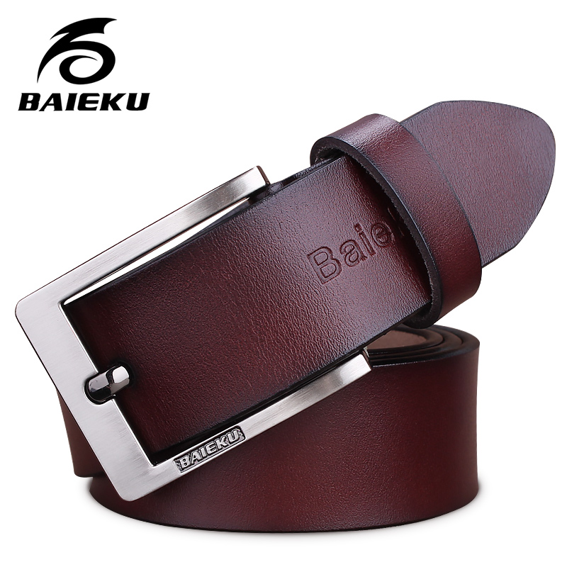 baieku 2018 مصمم الأزياء أحزمة الرجال جودة عالية بقرة حقيقية الجلود خمر دبوس مشبك ceinture رجل أحزمة ماركة فاخرة