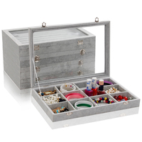 Wholesale Jewelry Case Storage Box With Glass Lid Gray Ice Velvet For Ring 7 Row High