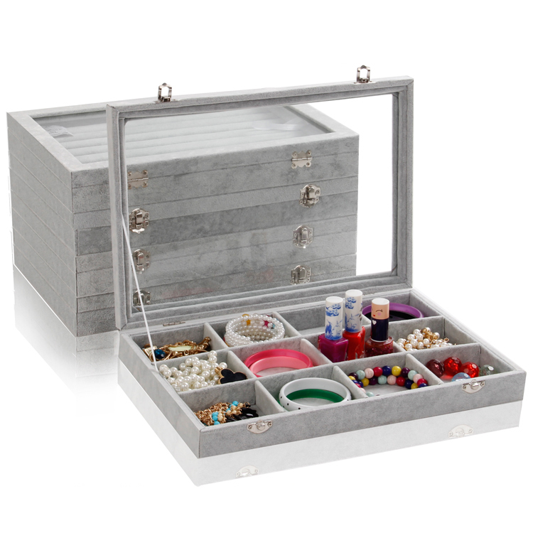 tonvic 355x245 1pc gray velvet jewelry display case storage organizer tray box