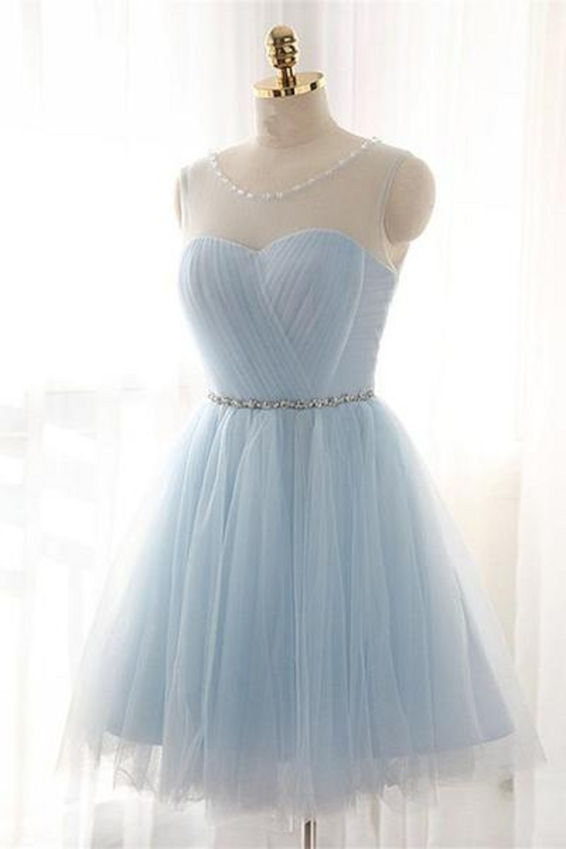 charming Baby Light Blue Simple Tulle Beaded Short Homecoming ...