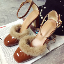 women's 9cm high heels shoes square toe light leather mink decoration fashion high heels ankle strap pumps EUR35-39