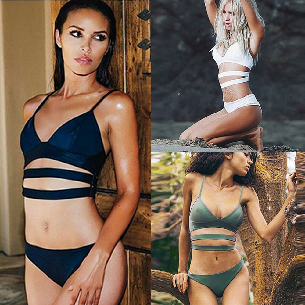 Women Girl Padded Bandage Sexy Beach Halter Bikini Bathing Suit Swimwear Bathing Suit Bikini Swiming #2DQ