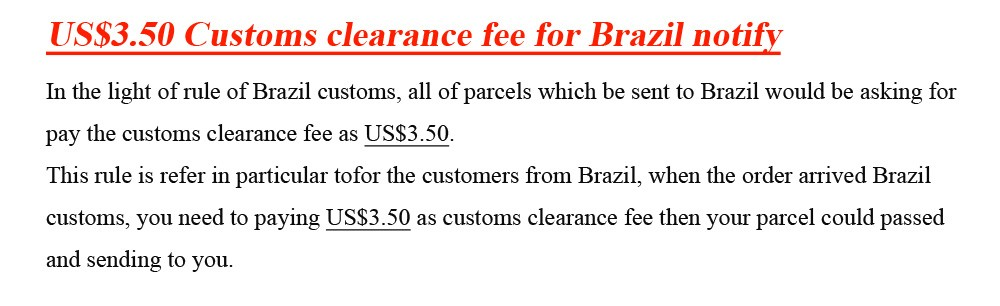 the customs duty for Brazil 3.5