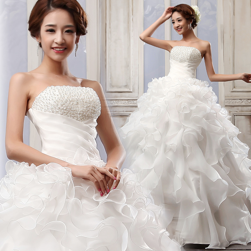 2013 Pearl Tube Top Wedding Dress Princess Straps The