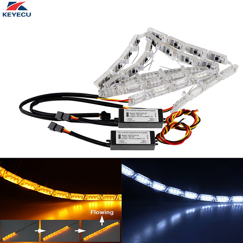 KEYECU 2Pcs 16LED White/Yellow Car LED Strip Lights Crystal Flexible Stretchable Flowing Daytime Running DRL Turn Signals Light flexible 3w 132lm 6 smd 5050 led white car decorative daytime running light 12v 2 pcs