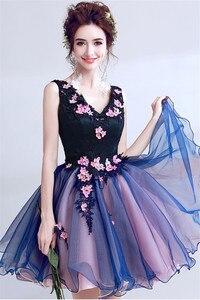 Image 5 - Robe de soirée Sexy violette, col en v, en dentelle, perles appliquées, robe courte de soirée, robe de soirée, Banquet, XK54