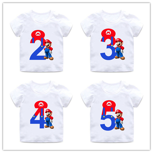 Super Mario Number 1-9 Letter Print Boys/Girls T Shirt Kids Happy Birthday Gift Number Clothes Baby Cartoon T-shirt,ooo5233