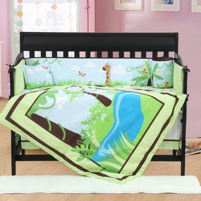 4PCS embroidery Baby Bedding Set For Boys And Girls Cotton Crib Sets Comfortable Baby,include(bumper+duvet+sheet+pillow) green hill mma 0057 xl
