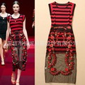 2016 Women's stripe VEST Clothing + new embroidered skirt suit