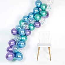 METABLE 300Pcs Mermaid Party Metallic Balloons arch kit for under The Sea Bridal Shower Chrome Blue Confetti Purple Green Color