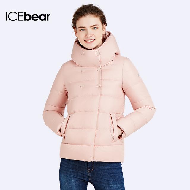 ICEbear 2017 Slim Short Coat Bio Down Jacket Winter Double Breasted Women's Cotton Parka Inside Have Pocket 16G6117D