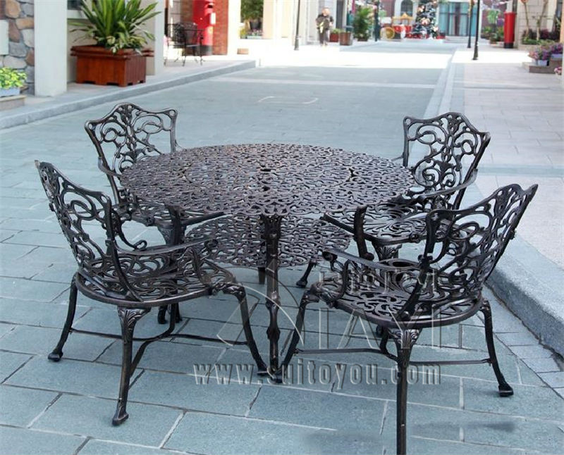 5 Piece Best Selling Cast Aluminum Table And Chair Outdoor