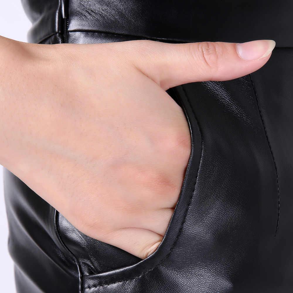 2018 mode Marke Echtem Leder Frauen Shorts Schwarz Frauen Solid Luxury Mid Taille Regelmäßige Taschen Sexy Mini Kurze Plus Größe