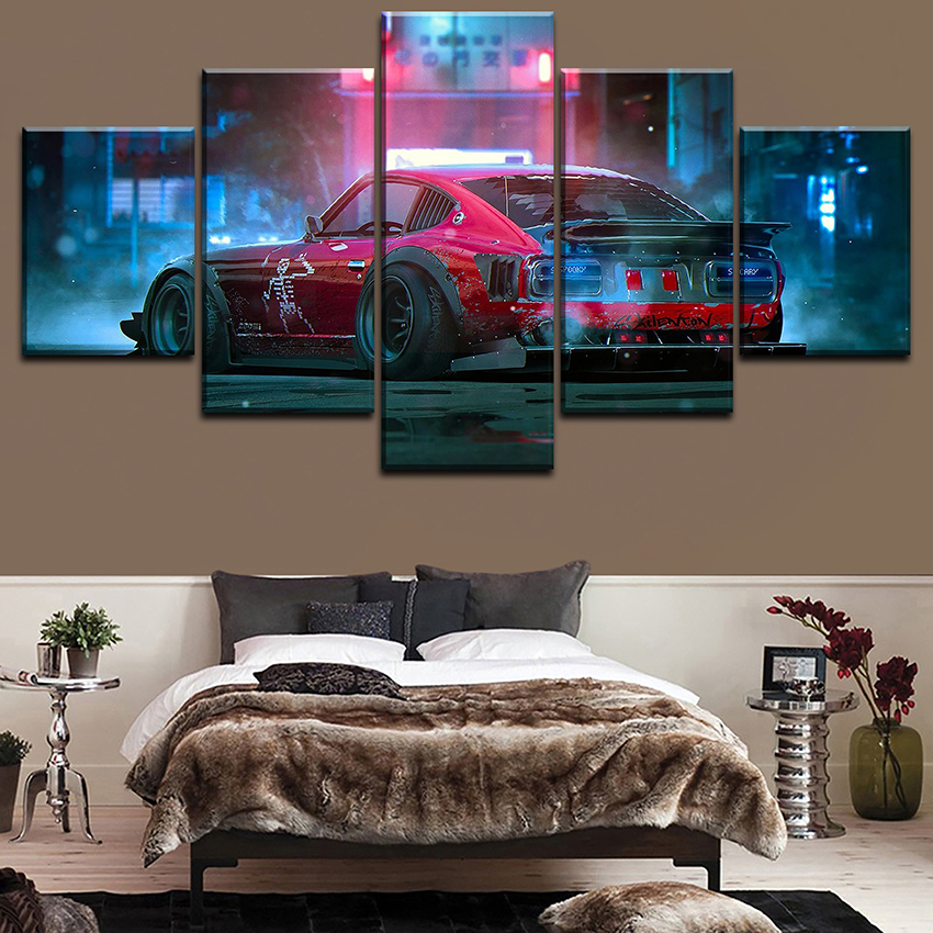 5 Pieces Dutsun 280z Car Poster Modern Home Decortive Wall Modular Pictures Framework Top-Rated Canvas Art Printed Painting
