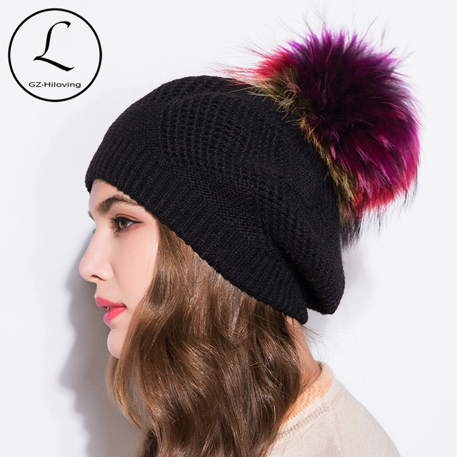 06a25cf4c US $18.45 29% OFF|Winter Brand Female Ball Pom Poms Winter Hat For Women  Girl's Hat Knitted Beanies Cap Hat Thick Women'S Slouchy Skullies  Beanies-in ...