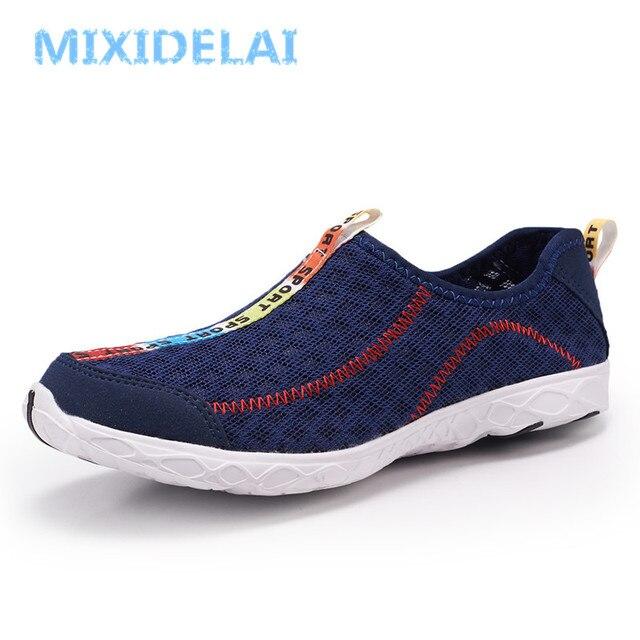 MIXIDELAI Homens Sapatos Tênis Verão Respirável Malha Sapatos Casuais Sapatos Da Moda Casal Amantes Homens & Mulheres Malha Sapatos Grande Plus Size sapatos
