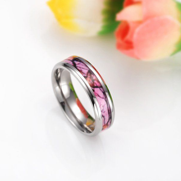 6MM Romantic Pink Camo 100% Titanium Ring Deer Pattern Camouflage Style Wedding Band Fashion Jewelry Women Rings bague en titane