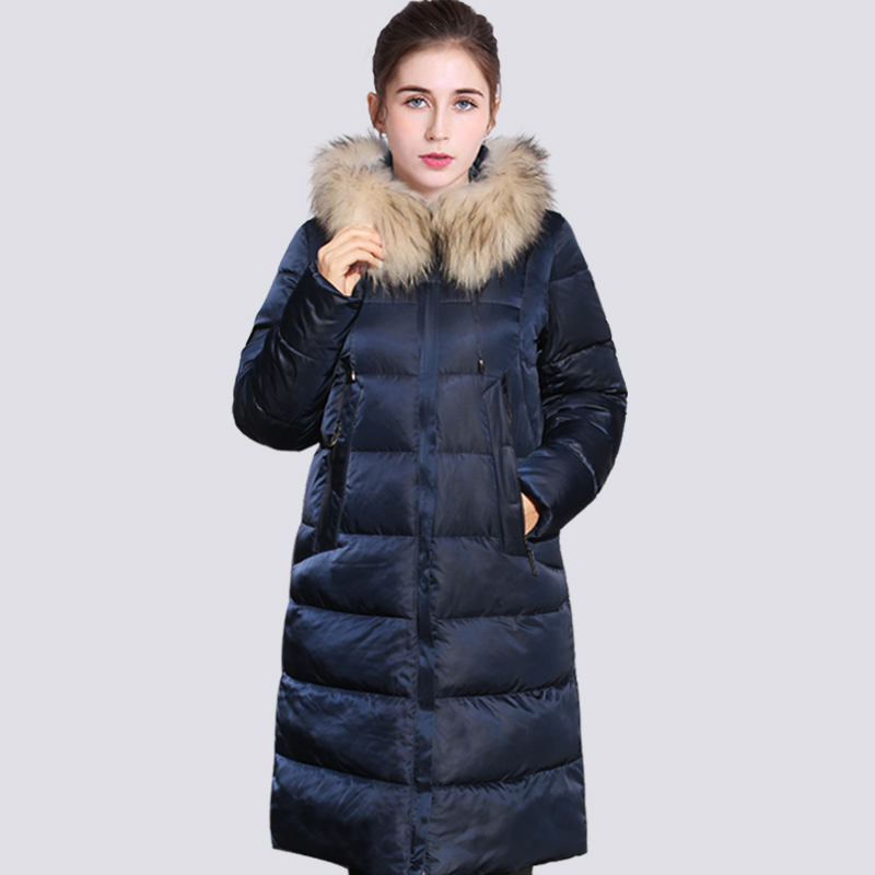 2019 New High Quality Thick   Parkas   Real Raccoon Fur Winter Jacket Women Plus Size Long Hooded Warm Winter Coat Outerwear