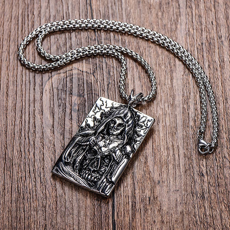 ZFVB Punk Death Satan Cross Skeleton Skull Pendant Necklaces Mens Stainless Steel Silver Color Fashion Biker Demon Jewelry in Pendant Necklaces from Jewelry Accessories