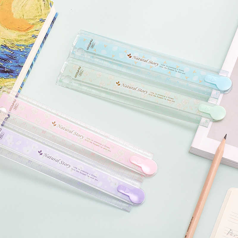 1 adet Aihao 30cm doğal hikaye katlanır plastik cetvel çizim şablonları kırtasiye okul malzemeleri çocuklar için hediye